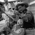 Joking around with Clark Gabe and Montgomery Clift on the set of The Misfits (Arthur Miller in the back)