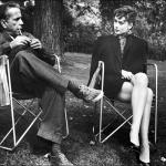 Humphrey Bogart and Audrey Hepburn on the set of Sabrina