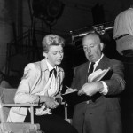 Doris Day and Alfred Hitchcock on set