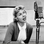 Doris Day recording a song