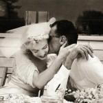 Marilyn and Arthur Miller on their wedding day