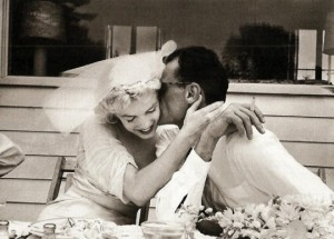 Marilyn and Arthur Miller on their wedding day