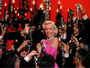 Marilyn in the famous Diamonds Are A Girls Best Friend sequence in Gentlemen Prefer Blondes
