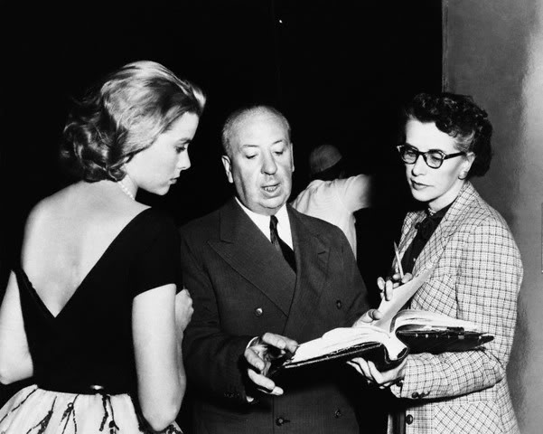 On the set of Rear Window with Alfred Hitchcock