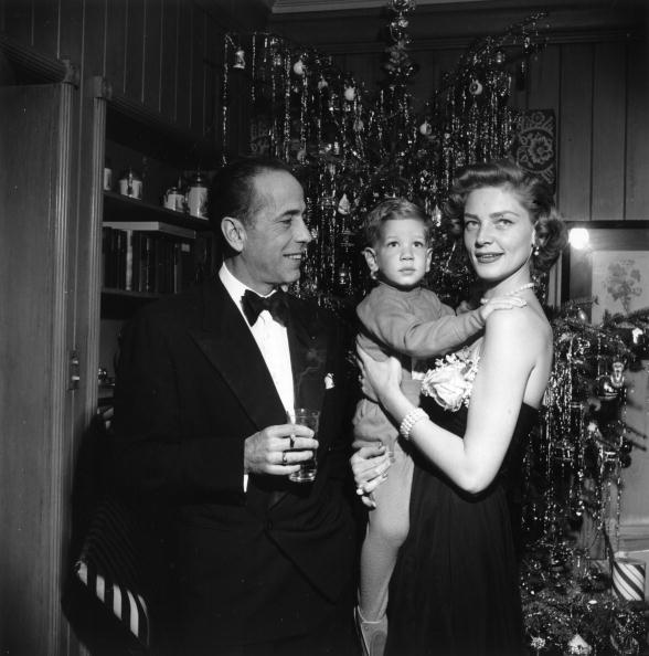 Bogie and Bacall with their son on Christmas