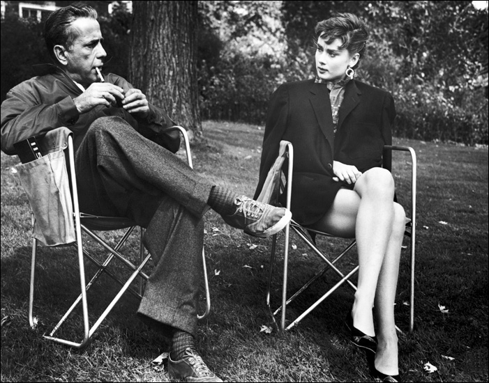Humphrey Bogart and Audrey Hepburn on the set of Sabrina