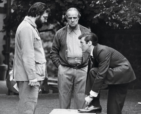 Marlon on the set of The Godfather with Frances Ford Coppola and Al Pacino