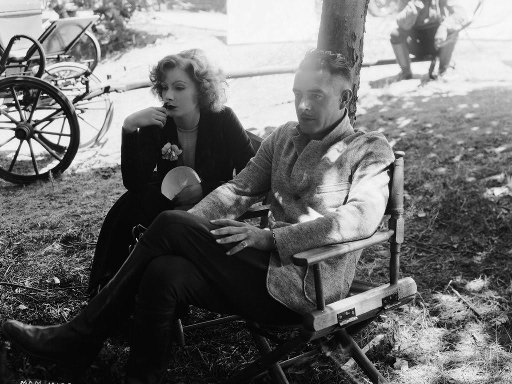 Greta and John Gilbert on set