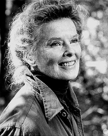 Katharine Hepburn on the set of On Golden Pond