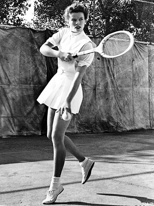 Katharine Hepburn playing tennis