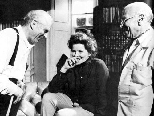 Katharine with laurence Olivier on the set of Love Among the Ruins