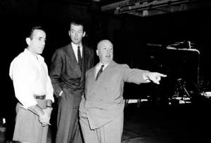 Humphrey Bogart James Stewart and Alfred Hitchcock