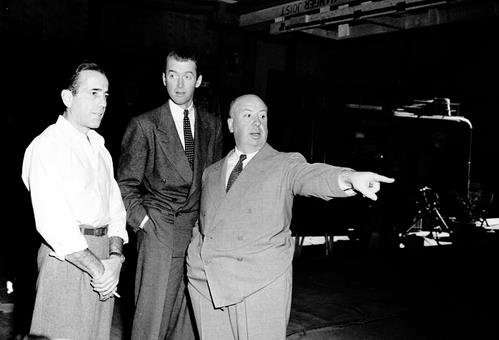 Humphrey Bogart James Stewart and Alfred Hitchcock