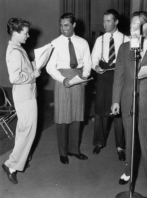 Katherine Hepburn Cary Grant and James rehearsing The Philadelphia Story