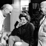 Laurence left and Katharine Hepburn on set