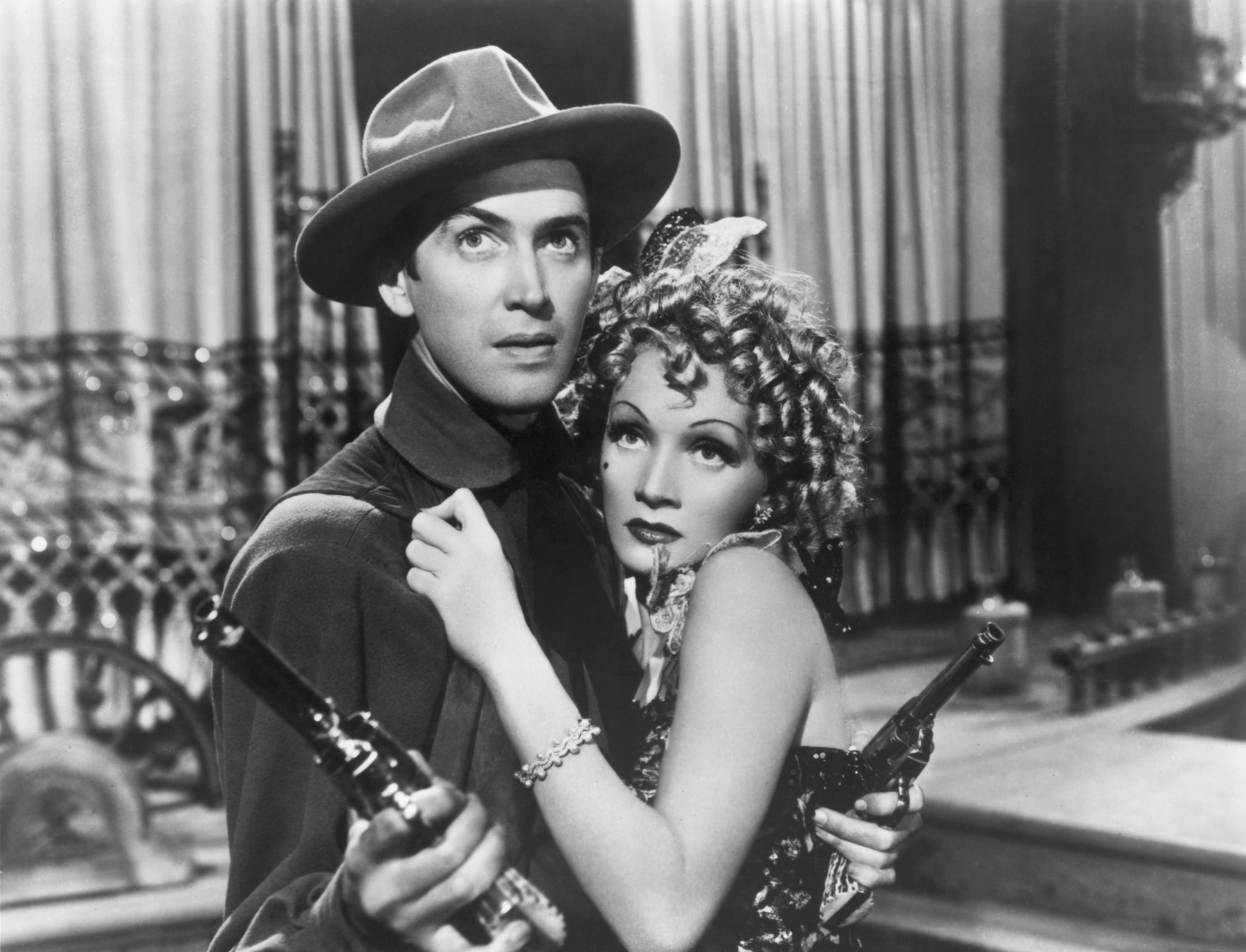 Marlene and James Stewart in Destry Rides Again 1939
