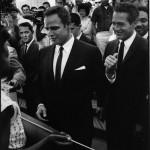 Paul at a civil rights rally with Marlon Brando