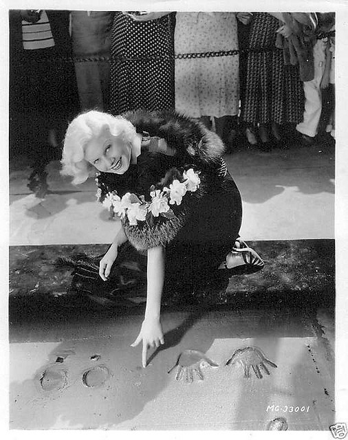 Jean making her imprint at Graumans Chinese Theatre in 1933