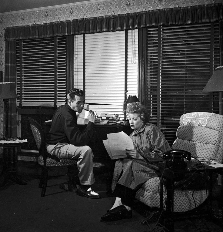 Lucy and Desi at work in their office
