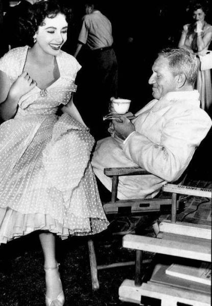 Spencer Tracy and Elizabeth taylor on the set of Father of the Bride