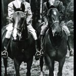 Spencer Tracy and Katharine Hepburn riding horses