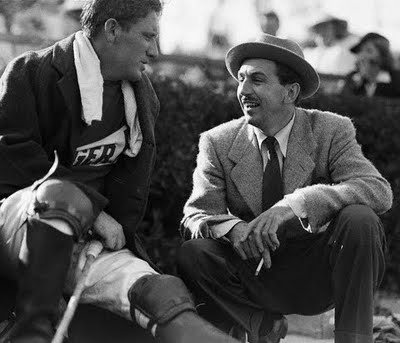 Spencer Tracy and friend Walt Disney at a polo match