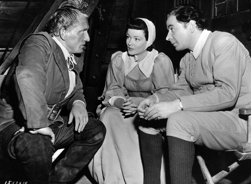 Spencer Tracy on set with Gene Tierney and Leo genn