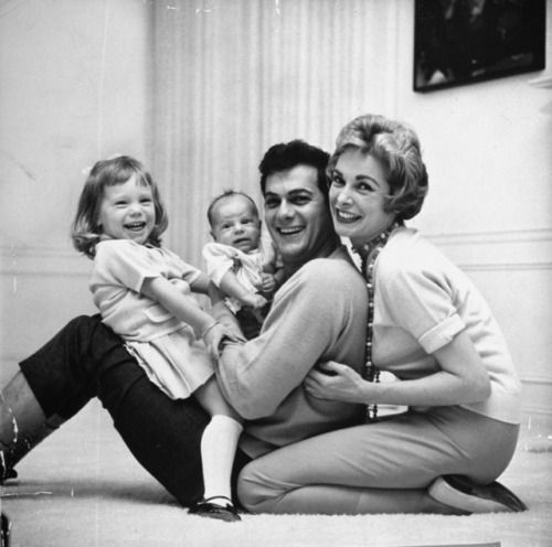 Tony Curtis and Janet Leigh and children