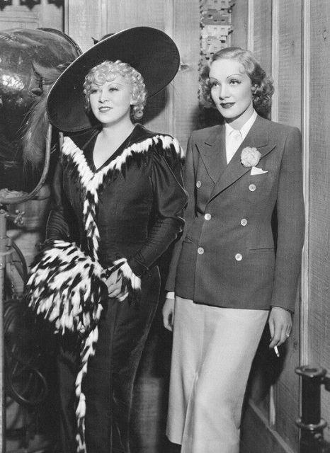 Mae West and friend Marlene Dietrich in 1936