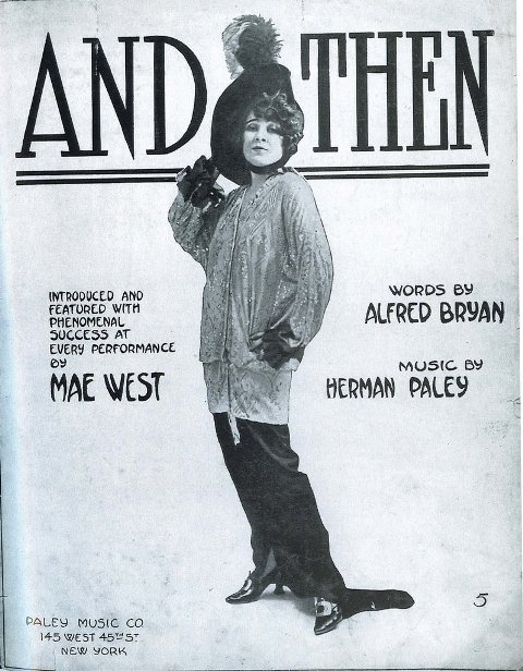 Mae West in her late teens on a play bill
